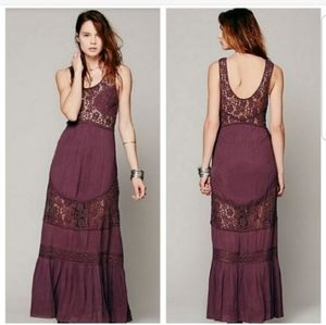 Free People Embroidered Pieced Lace Maxi Dress